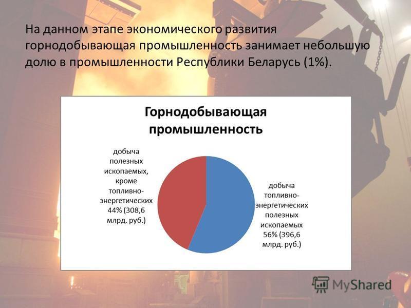 На данном этапе экономического развития горнодобывающая промышленность занимает небольшую долю в промышленности Республики Беларусь (1%).