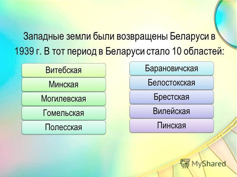 Западные земли были возвращены Беларуси в 1939 г. В тот период в Беларуси стало 10 областей: Витебская МинскаяМогилевская Гомельская Полесская Барановичская Белостокская БрестскаяВилейская Пинская
