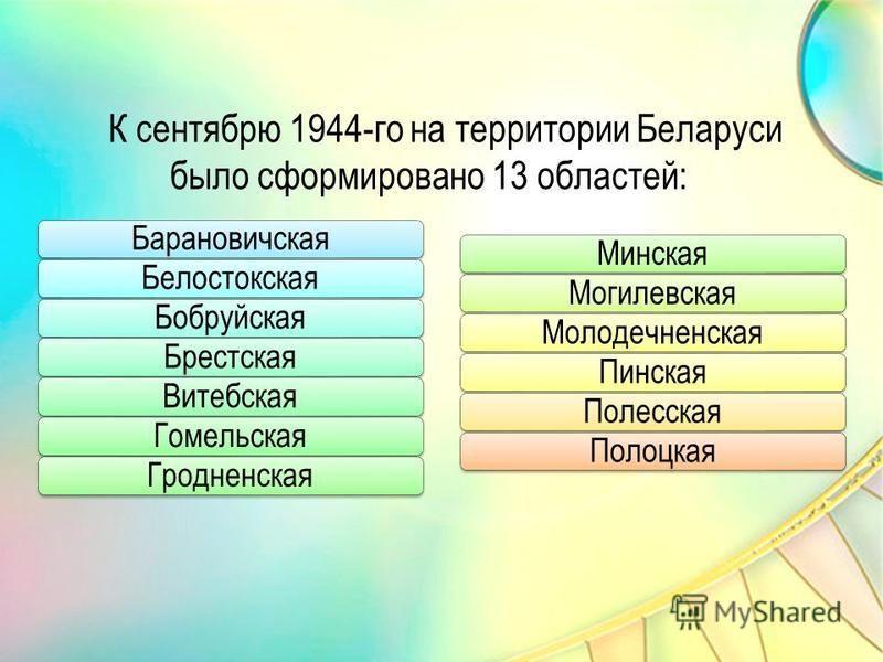 К сентябрю 1944-го на территории Беларуси было сформировано 13 областей: Барановичская БелостокскаяБобруйская БрестскаяВитебская ГомельскаяГродненская МинскаяМогилевская Молодечненская Пинская ПолесскаяПолоцкая