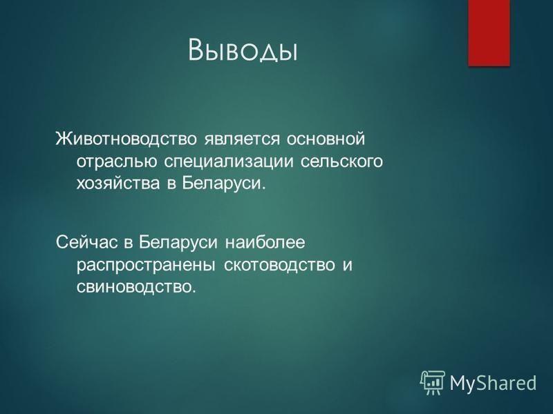 Выводы Животноводство является основной отраслью специализации сельского хозяйства в Беларуси. Сейчас в Беларуси наиболее распространены скотоводство и свиноводство.