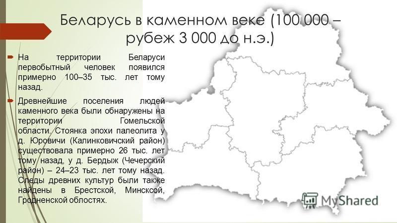 Беларусь в каменном веке (100 000 – рубеж 3 000 до н.э.) На территории Беларуси первобытный человек появился примерно 100–35 тыс. лет тому назад. Древнейшие поселения людей каменного века были обнаружены на территории Гомельской области. Стоянка эпох