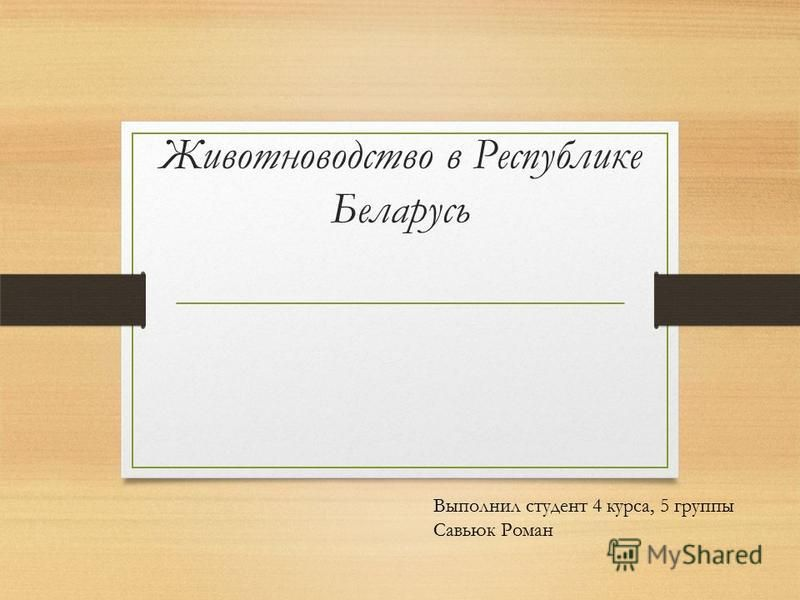Животноводство в Республике Беларусь Выполнил студент 4 курса, 5 группы Савьюк Роман