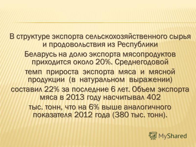 В структуре экспорта сельскохозяйственного сырья и продовольствия из Республики Беларусь на долю экспорта мясопродуктов приходится около 20%. Среднегодовой темп прироста экспорта мяса и мясной продукции (в натуральном выражении) составил 22% за после