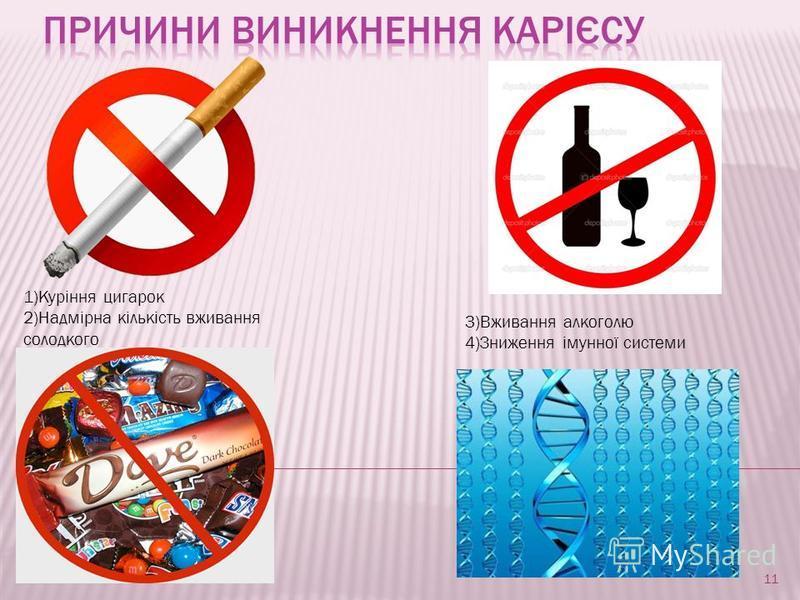 1)Куріння цигарок 2)Надмірна кількість вживання солодкого 3)Вживання алкоголю 4)Зниження імунної системи 11