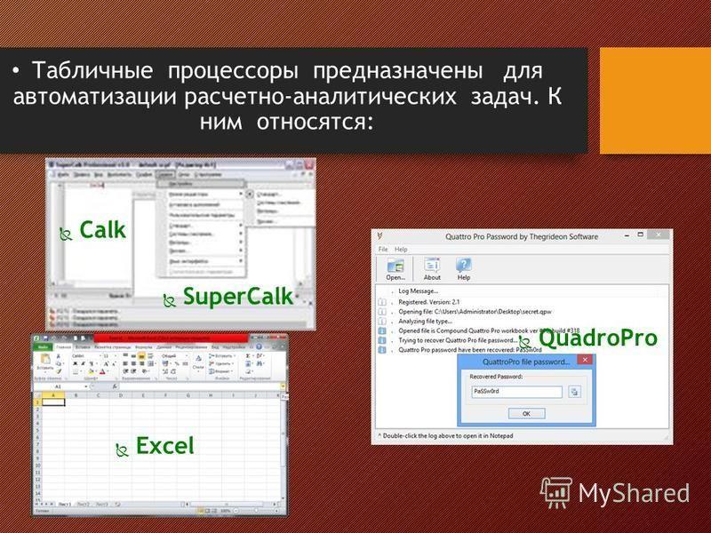 Табличные процессоры предназначены для автоматизации расчетно-аналитических задач. К ним относятся: Федоренко Е.Д. ГБОУ НПО ПУ 71 КК Calk SuperCalk Excel QuadroPro