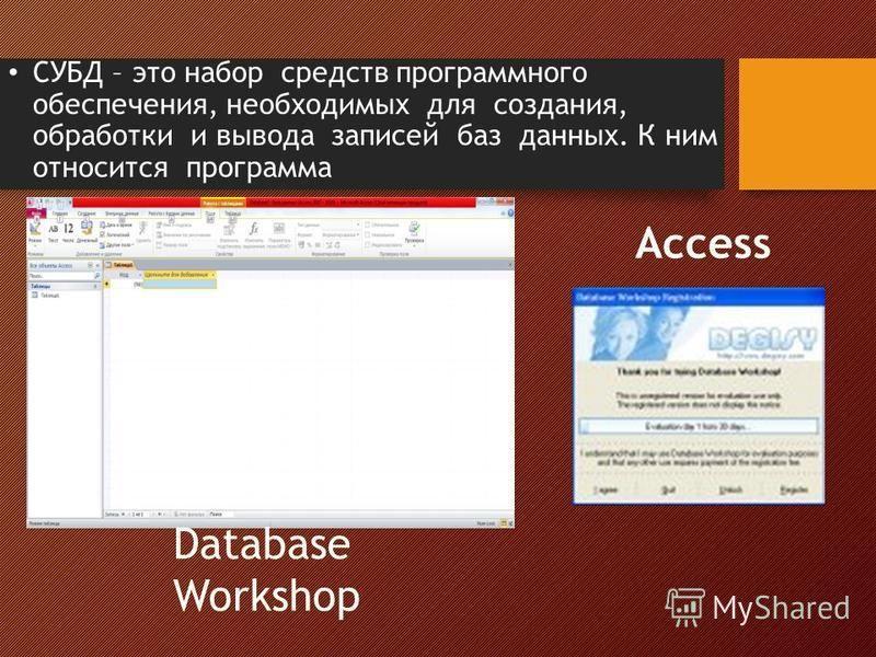 СУБД – это набор средств программного обеспечения, необходимых для создания, обработки и вывода записей баз данных. К ним относится программа Access Database Workshop