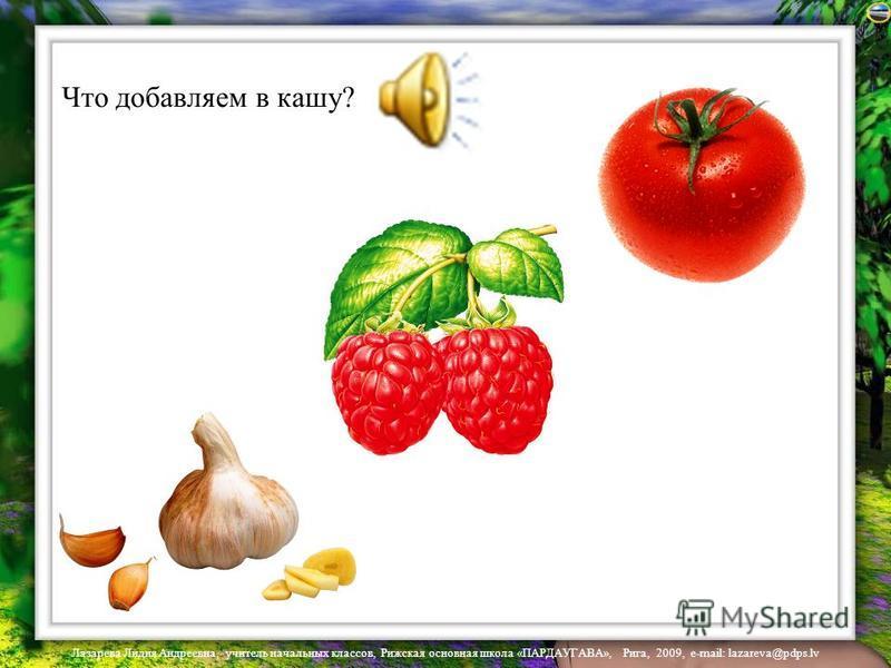 Лазарева Лидия Андреевна, учитель начальных классов, Рижская основная школа «ПАРДАУГАВА», Рига, 2009, e-mail: lazareva@pdps.lv Где здесь овощ?
