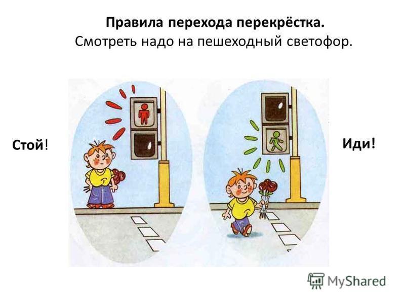 Правила перехода перекрёстка. Смотреть надо на пешеходный светофор. Стой! Иди!