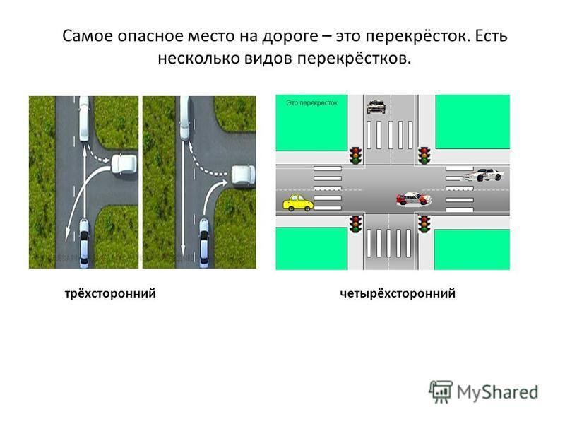 Самое опасное место на дороге – это перекрёсток. Есть несколько видов перекрёстков. трёхсторонний четырёхсторонний