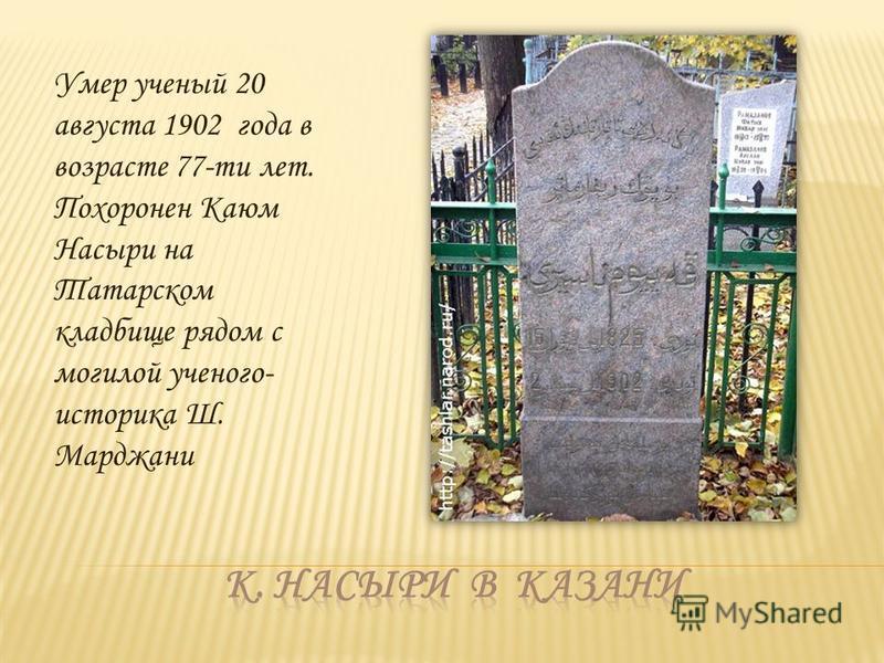 Умер ученый 20 августа 1902 года в возрасте 77-ти лет. Похоронен Каюм Насыри на Татарском кладбище рядом с могилой ученого- историка Ш. Марджани
