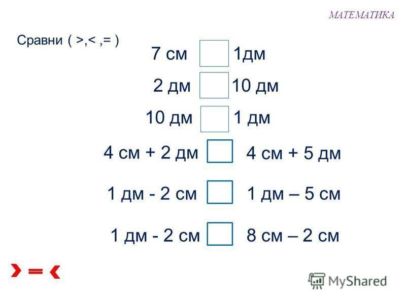 1 дм + 1 дм = 2 дм 1 дм 2. Катя начертила синюю ломаную, а Петя – красную. Чья ломаная длиннее? Чья ломаная короче? 1 дм 1 дм + 1 дм + 1 дм = 3 дм 1 дм 2 дм < 3 дм МАТЕМАТИКА