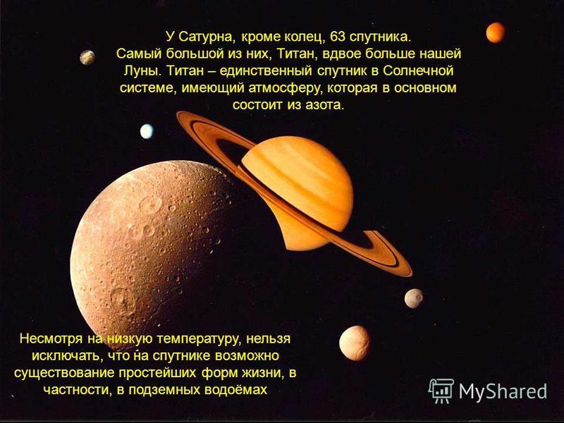 Сатурн получает от Солнца в 100 раз меньше тепла, чем получает Земля, поэтому там очень холодно – более 150 градусов мороза. Но самое главное отличие во внешнем виде Сатурна это наличие многих колец, в составе которых частицы льда, тяжёлые элементы и