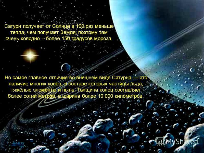 Если планету Сатурн погрузить в воду, она будет плавать на поверхности как воздушный шар. Человек не сможет стоять на поверхности Сатурна, поскольку он совсем не имеет твердой поверхности подобной земной