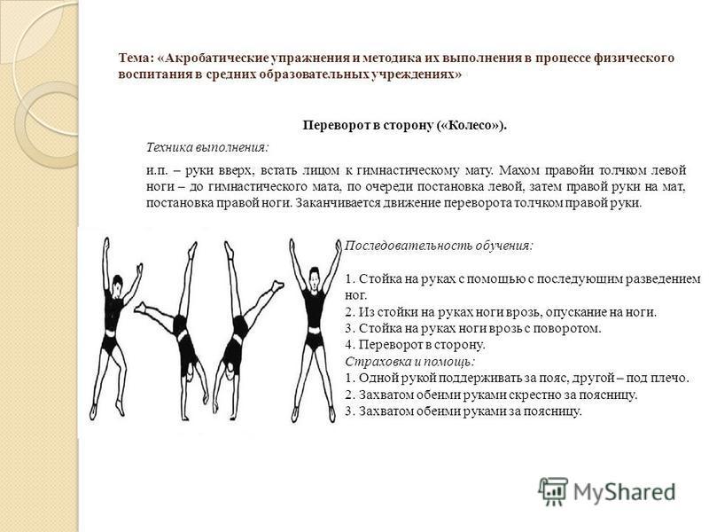 Тема: «Акробатические упражнения и методика их выполнения в процессе физического воспитания в средних образовательных учреждениях» Переворот в сторону («Колесо»). Техника выполнения: и.п. – руки вверх, встать лицом к гимнастическому мату. Махом право