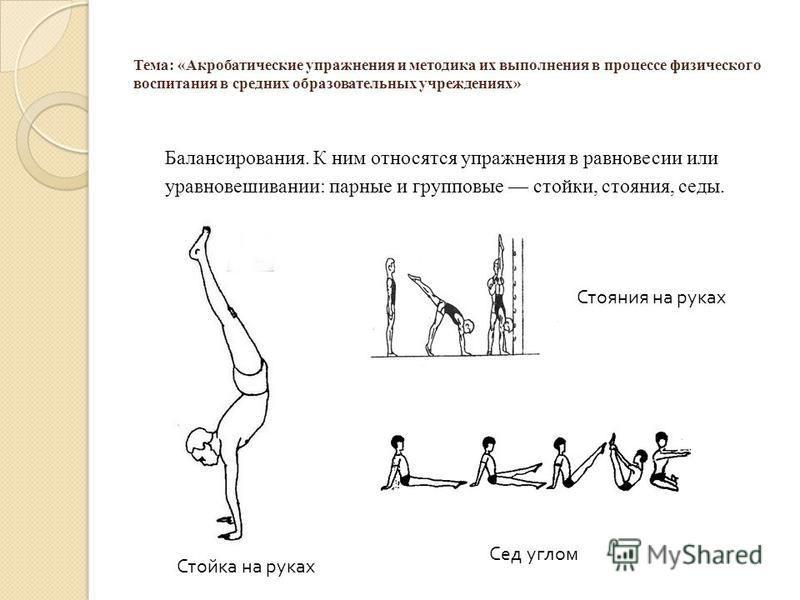 Тема: «Акробатические упражнения и методика их выполнения в процессе физического воспитания в средних образовательных учреждениях» Балансирования. К ним относятся упражнения в равновесии или уравновешивании: парные и групповые стойки, стояния, седы.