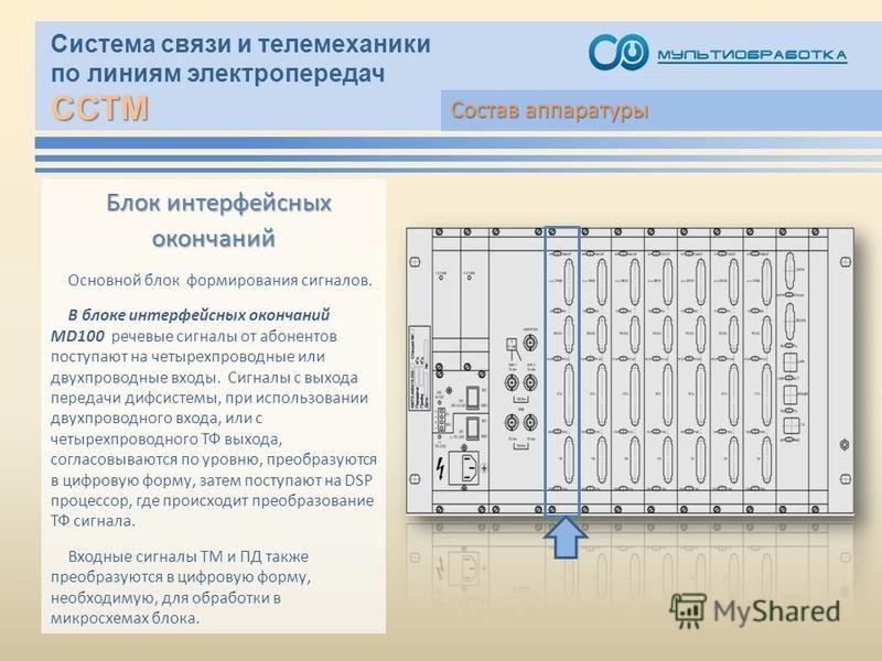 ССТМ Система связи и телемеханики по линиям электропередач ССТМ Блок интерфейсных окончаний Основной блок формирования сигналов. В блоке интерфейсных окончаний MD100 речевые сигналы от абонентов поступают на четырехпроводные или двухпроводные входы.