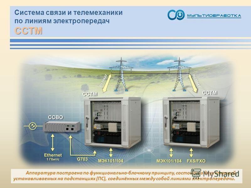 ССТМ Система связи и телемеханики по линиям электропередач ССТМ Аппаратура построена по функционально-блочному принципу, состоит из двух станций, устанавливаемых на подстанциях (ПС), соединённых между собой линиями электропередачи.