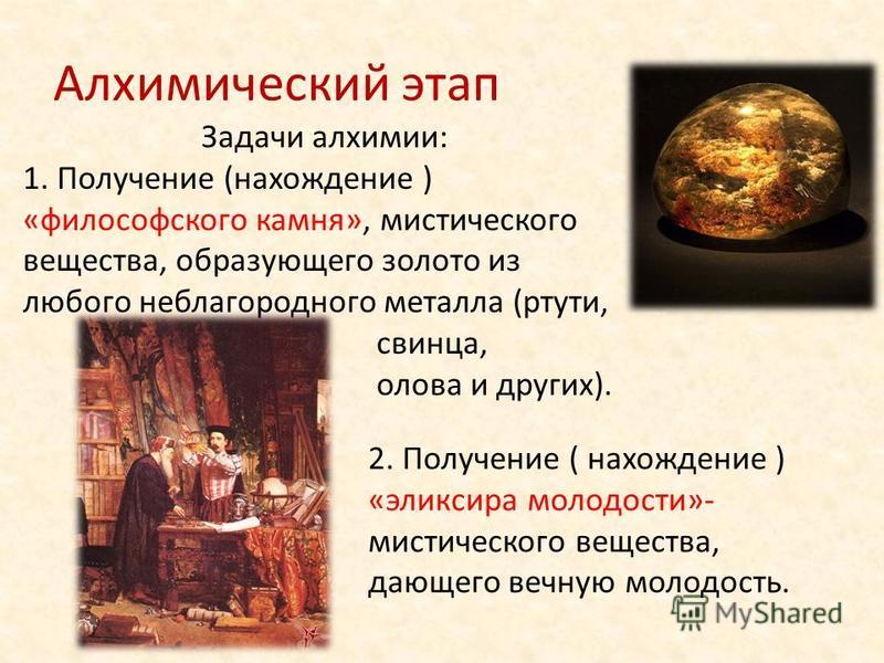 Алхимический этап Задачи алхимии: 1. Получение (нахождение ) «философского камня», мистического вещества, образующего золото из любого неблагородного металла (ртути, свинца, олова и других). 2. Получение ( нахождение ) «эликсира молодости»- мистическ