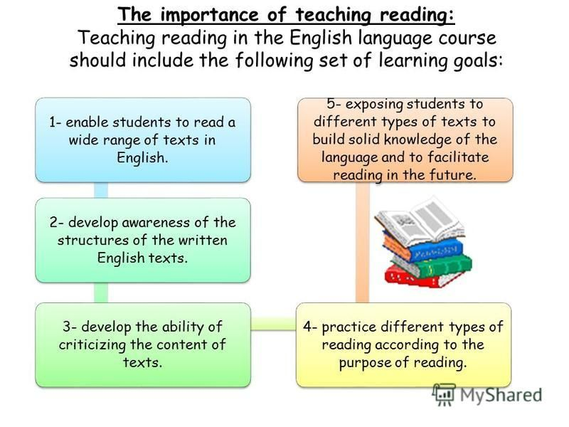 The importance of teaching reading: Teaching reading in the English language course should include the following set of learning goals: 1- enable students to read a wide range of texts in English. 2- develop awareness of the structures of the written