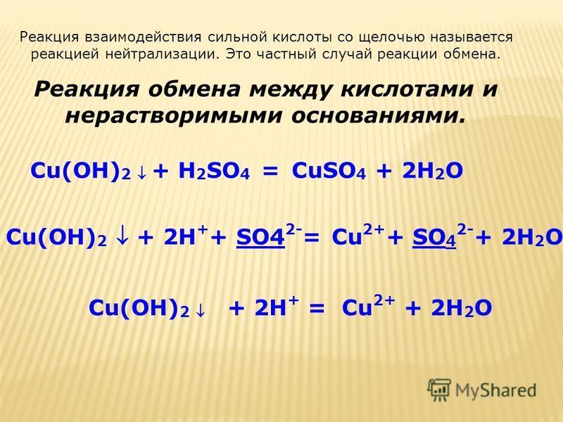 Реакция взаимодействия сильной кислоты со щелочью называется реакцией нейтрализации. Это частный случай реакции обмена. Реакция обмена между кислотами и нерастворимыми основаниями. Cu(OH) 2 + H 2 SO 4 =CuSO 4 + 2H 2 O Cu(OH) 2 + 2H + + SO4 2- = Cu 2+