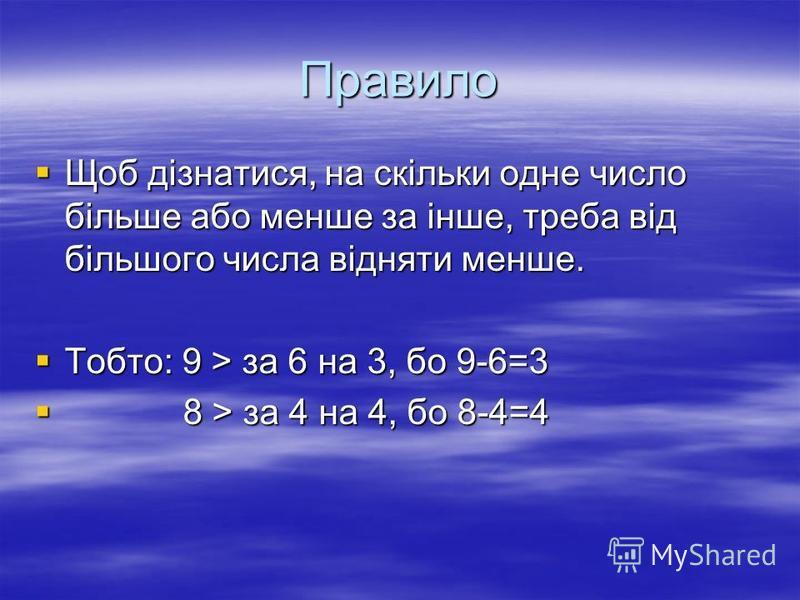 Правило Щоб дізнатися, на скільки одне число більше або менше за інше, треба від більшого числа відняти менше. Щоб дізнатися, на скільки одне число більше або менше за інше, треба від більшого числа відняти менше. Тобто: 9 > за 6 на 3, бо 9-6=3 Тобто