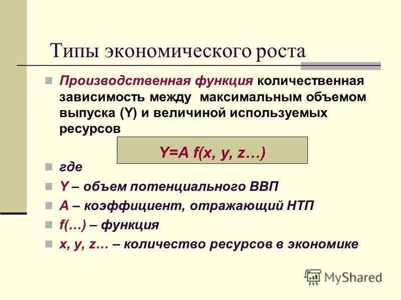Типы экономического роста Производственная функция количественная зависимость между максимальным объемом выпуска (Y) и величиной используемых ресурсов где Y – объем потенциального ВВП A – коэффициент, отражающий НТП f(…) – функция x, y, z… – количест