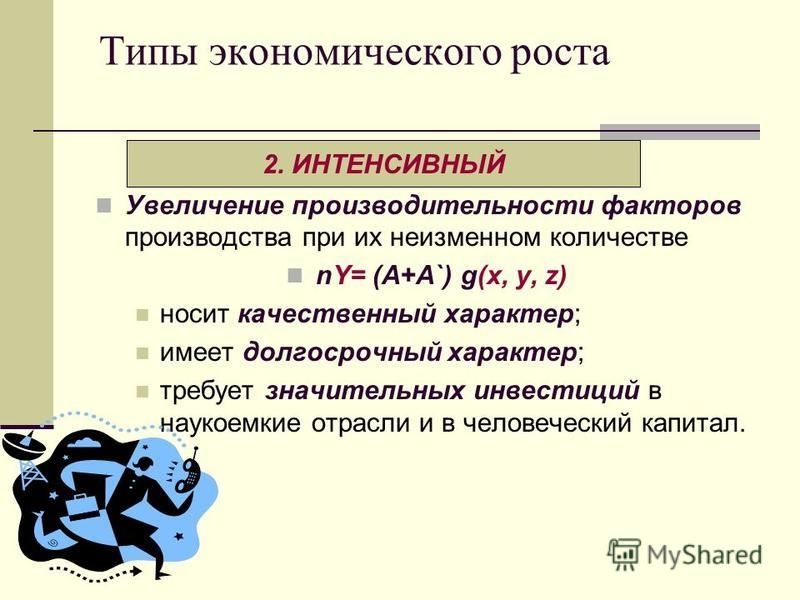 Типы экономического роста Увеличение производительности факторов производства при их неизменном количестве nY= (A+A`) g(х, у, z) носит качественный характер; имеет долгосрочный характер; требует значительных инвестиций в наукоемкие отрасли и в челове