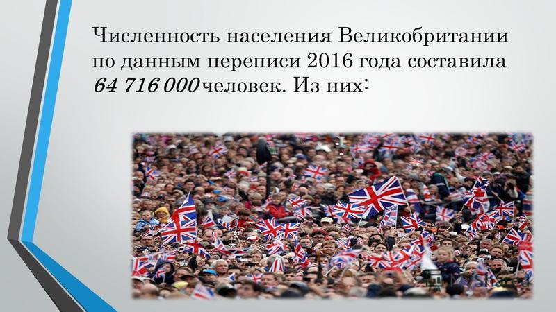 Численность населения Великобритании по данным переписи 2016 года составила 64 716 000 человек. Из них: