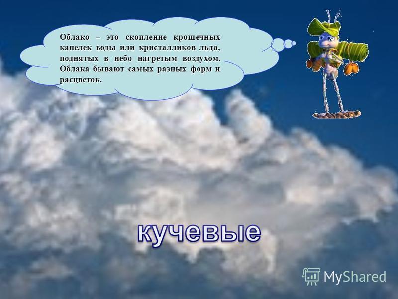 Облако – это скопление крошечных капелек воды или кристалликов льда, поднятых в небо нагретым воздухом. Облака бывают самых разных форм и расцветок.