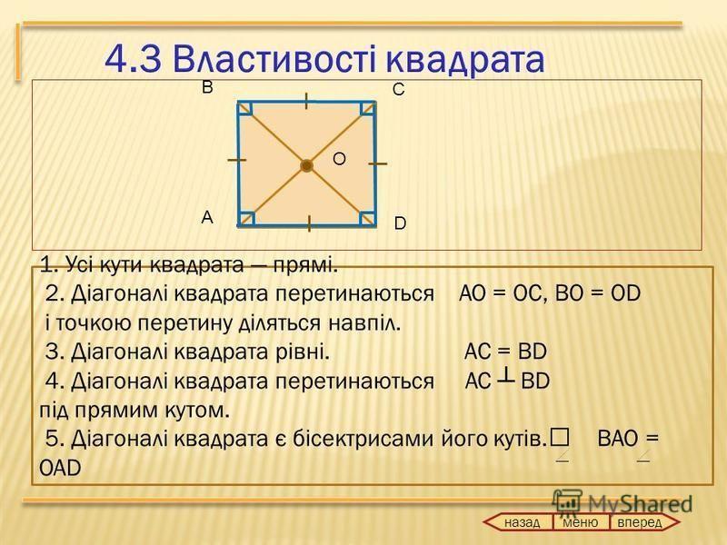 назад вперед меню А В С O D 1. Усі кути квадрата прямі. 2. Діагоналі квадрата перетинаються AO = OC, BO = OD і точкою перетину діляться навпіл. 3. Діагоналі квадрата рівні. АС = ВD 4. Діагоналі квадрата перетинаються AC BD під прямим кутом. 5. Діагон