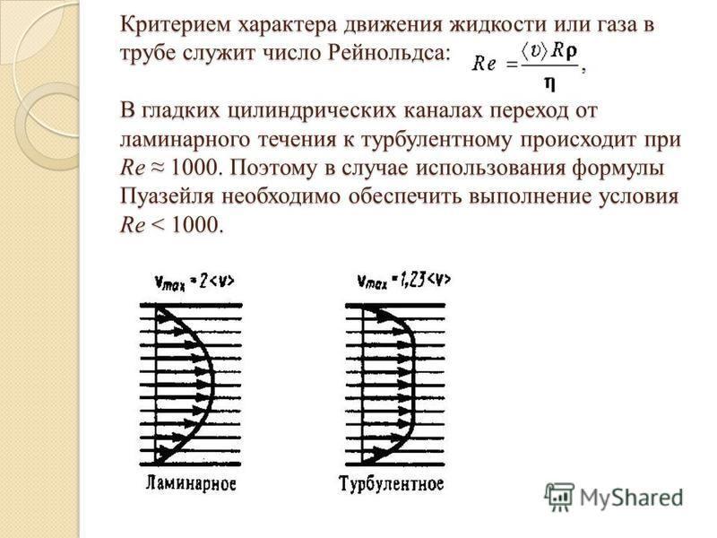 Критерием характера движения жидкости или газа в трубе служит число Рейнольдса: В гладких цилиндрических каналах переход от ламинарного течения к турбулентному происходит при Rе 1000. Поэтому в случае использования формулы Пуазейля необходимо обеспеч