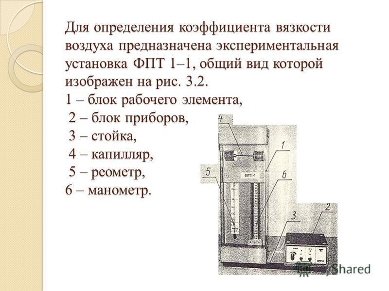 Для определения коэффициента вязкости воздуха предназначена экспериментальная установка ФПТ 1–1, общий вид которой изображен на рис. 3.2. 1 – блок рабочего элемента, 2 – блок приборов, 3 – стойка, 4 – капилляр, 5 – реометр, 6 – манометр.