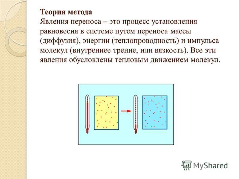 Теория метода Явления переноса – это процесс установления равновесия в системе путем переноса массы (диффузия), энергии (теплопроводность) и импульса молекул (внутреннее трение, или вязкость). Все эти явления обусловлены тепловым движением молекул.
