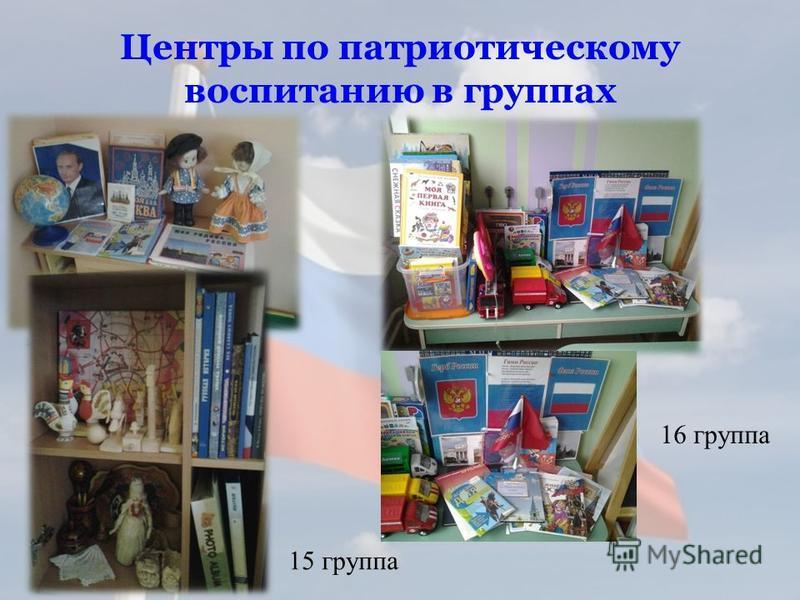 Центры по патриотическому воспитанию в группах 15 группа 16 группа