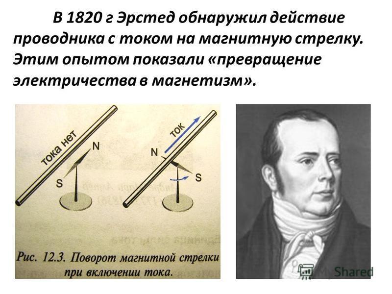 В 1820 г Эрстед обнаружил действие проводника с током на магнитную стрелку. Этим опытом показали «превращение электричества в магнетизм».