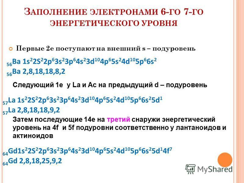 З АПОЛНЕНИЕ ЭЛЕКТРОНАМИ 6- ГО 7- ГО ЭНЕРГЕТИЧЕСКОГО УРОВНЯ Первые 2 е поступают на внешний s – подуровень 56 Ba 1s 2 2S 2 2p 6 3s 2 3p 6 4s 2 3d 10 4p 6 5s 2 4d 10 5p 6 6s 2 56 Ba 2,8,18,18,8,2 Следующий 1 е у La и Ac на предыдущий d – подуровень 57