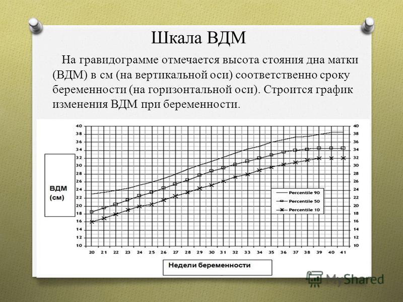 Шкала ВДМ На гравидограмме отмечается высота стояния дна матки (ВДМ) в см (на вертикальной оси) соответственно сроку беременности (на горизонтальной оси). Строится график изменения ВДМ при беременности.