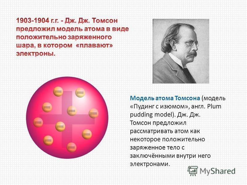 Модель атома Томсона (модель «Пудинг с изюмом», англ. Plum pudding model). Дж. Дж. Томсон предложил рассматривать атом как некоторое положительно заряженное тело с заключёнными внутри него электронами.