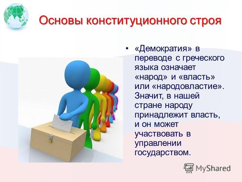 Основы конституционного строя «Демократия» в переводе с греческого языка означает «народ» и «власть» или «народовластие». Значит, в нашей стране народу принадлежит власть, и он может участвовать в управлении государством.