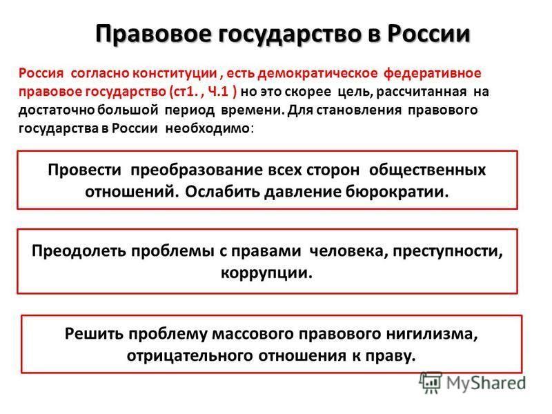 Правовое государство в России Россия согласно конституции, есть демократическое федеративное правовое государство (ст 1., Ч.1 ) но это скорее цель, рассчитанная на достаточно большой период времени. Для становления правового государства в России необ