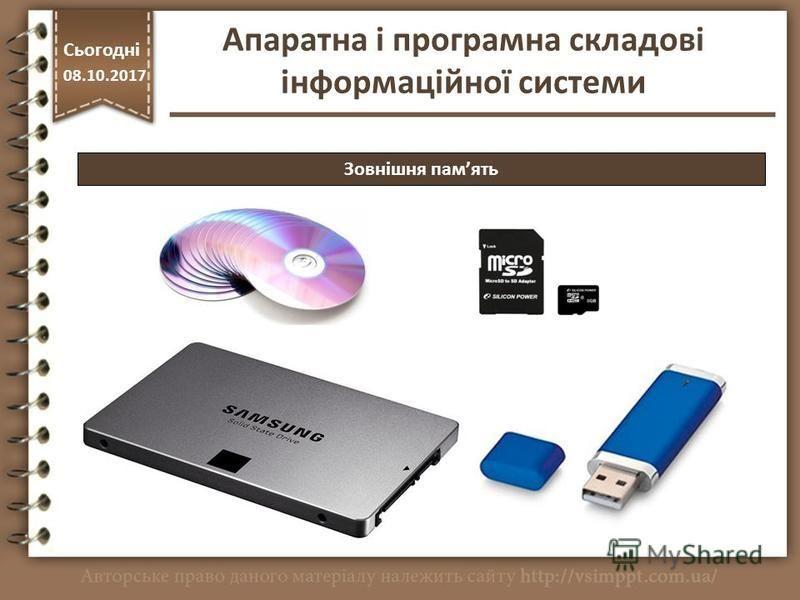 Зовнішня память http://vsimppt.com.ua/ Сьогодні 08.10.2017 Апаратна і програмна складові інформаційної системи