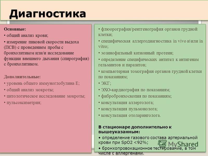 Диагностика Диагностика Основные: общий анализ крови; измерение пиковой скорости выдоха (ПСВ) с проведением пробы с бронхолитиком или/и исследование функции внешнего дыхания (спирография) с бронхолитиком. Дополнительные: уровень общего иммуноглобулин