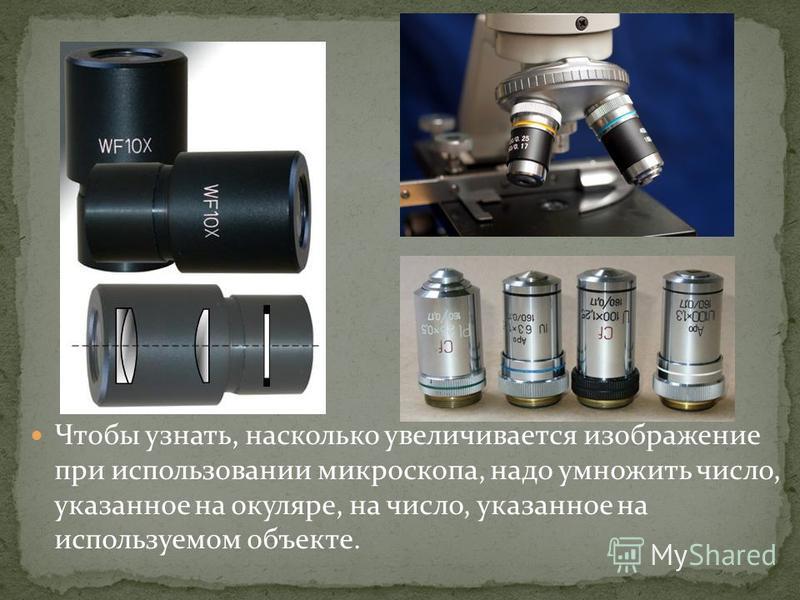 Чтобы узнать, насколько увеличивается изображение при использовании микроскопа, надо умножить число, указанное на окуляре, на число, указанное на используемом объекте.
