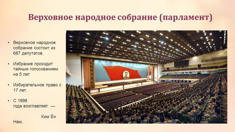 Верховное народное собрание (парламент) Верховное народное собрание состоит из 687 депутатов. Избрание проходит тайным голосованием на 5 лет Избирательное право с 17 лет. C 1998 года возглавляет Ким Ён Нам.
