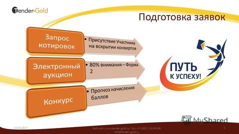 Подготовка заявок 13.10.20175 Веб-сайт: www.tender-gold.ru Тел.: +7 (495) 132-60-68 info@tender-gold.ru
