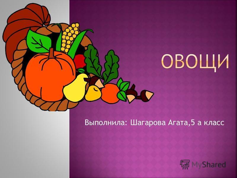 Выполнила: Шагарова Агата,5 а класс