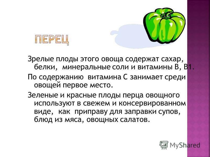 Зрелые плоды этого овоща содержат сахар, белки, минеральные соли и витамины В, В1. По содержанию витамина С занимает среди овощей первое место. Зеленые и красные плоды перца овощного используют в свежем и консервированном виде, как приправу для запра