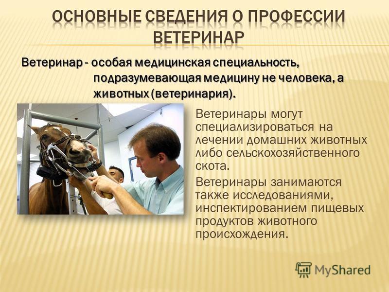 Ветеринары могут специализироваться на лечении домашних животных либо сельскохозяйственного скота. Ветеринары занимаются также исследованиями, инспектированием пищевых продуктов животного происхождения. Ветеринар - особая медицинская специальность, п
