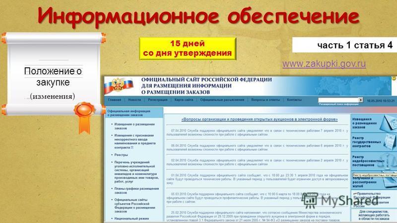 Информационное обеспечение www.zakupki.gov.ru часть 1 статья 4 15 дней со дня утверждения Положение о закупке (изменения)