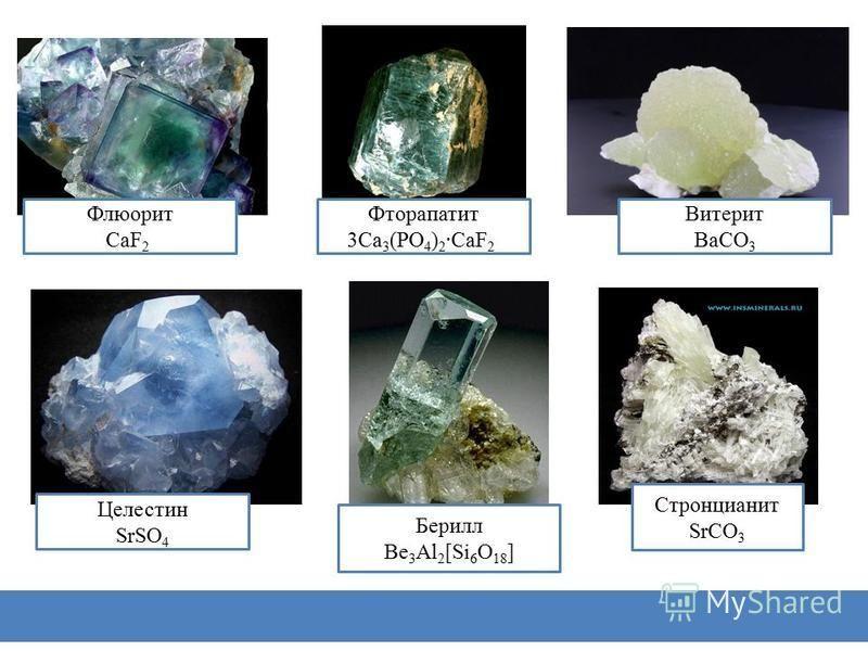 Магнезит MgCO 3 Доломит MgCO 3 ·CaCO 3 Барит BaSO 4 Бишофит MgCl 2 ·6H 2 O Известняк CaCO 3 Гипс CaSO 4 ·2H 2 O
